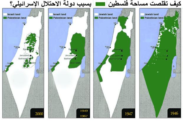 كيف تقلصت خريطة فلسطين بسبب دولة الاحتلال الاسرائيلي؟
