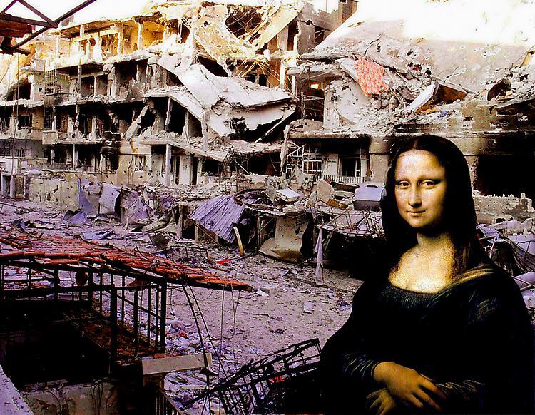 """""""تمام عزام"""" فنان سوري يستخدم لوحات عالمية لتجسيد الثورة السورية"""